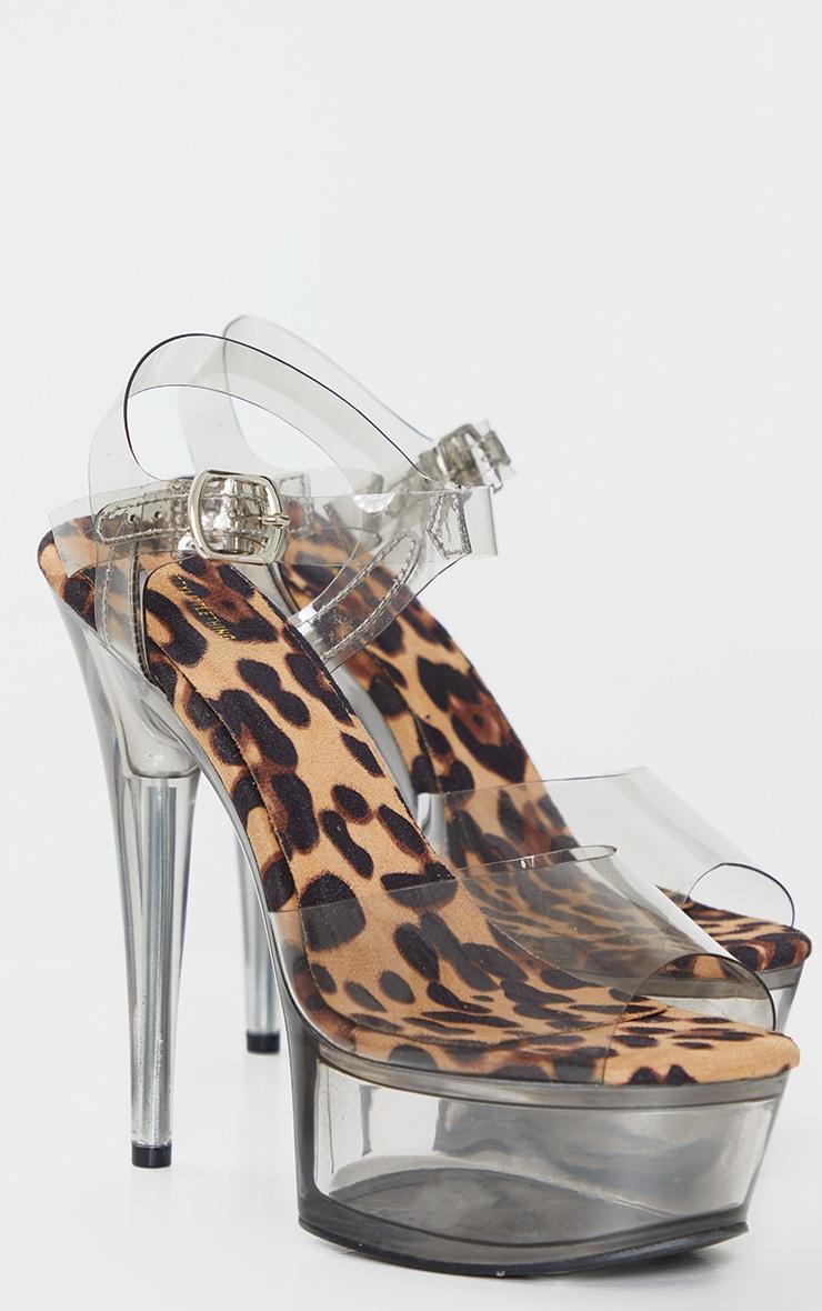 Leopard Extreme Clear Platform Sandals 3
