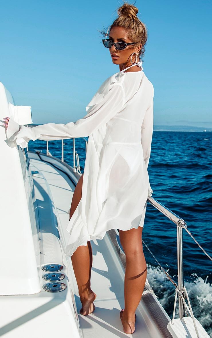 White Extreme Frill Mini Kimono 2