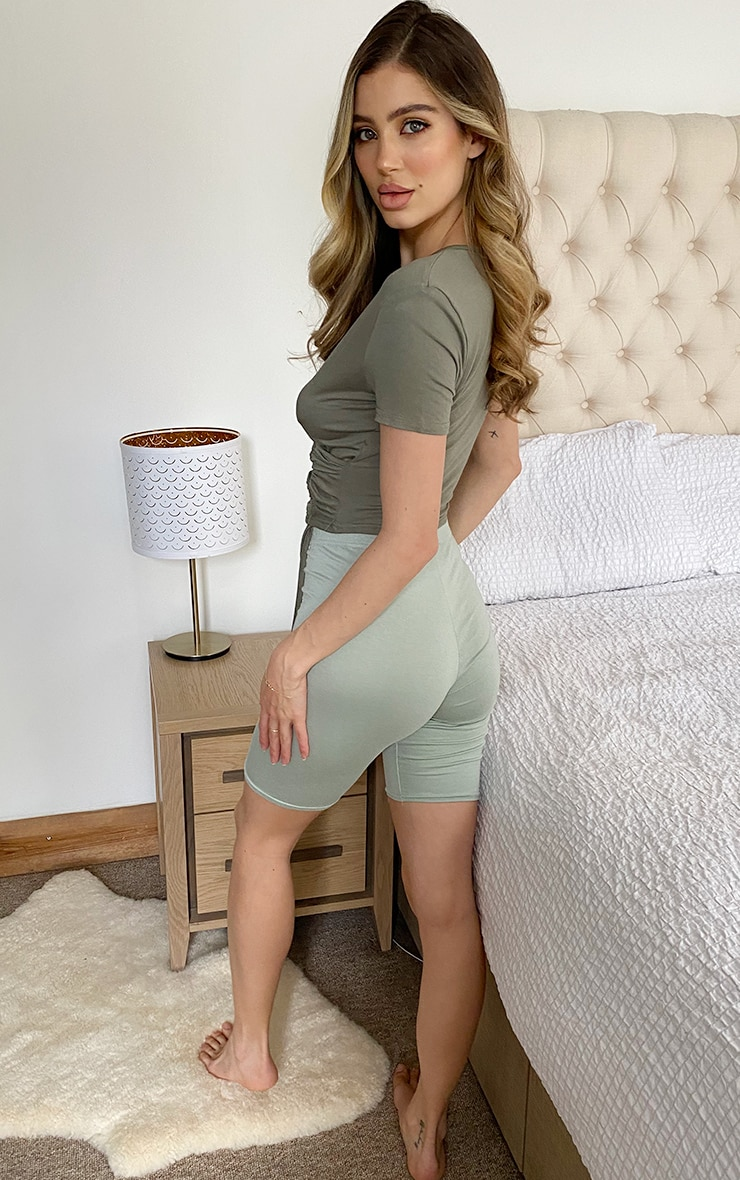 Sage Green Ruched Wrap Front Short Sleeve Crop Top 2
