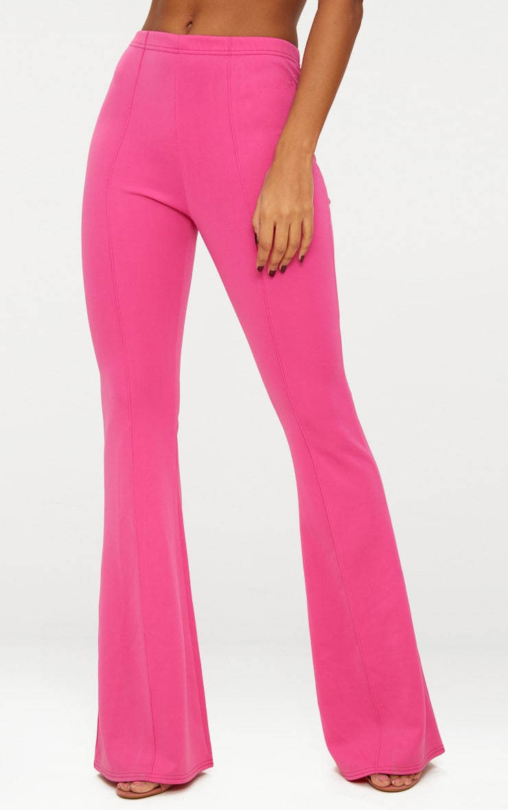 Pantalon taille haute long extrêmement évasé fuchsia 4