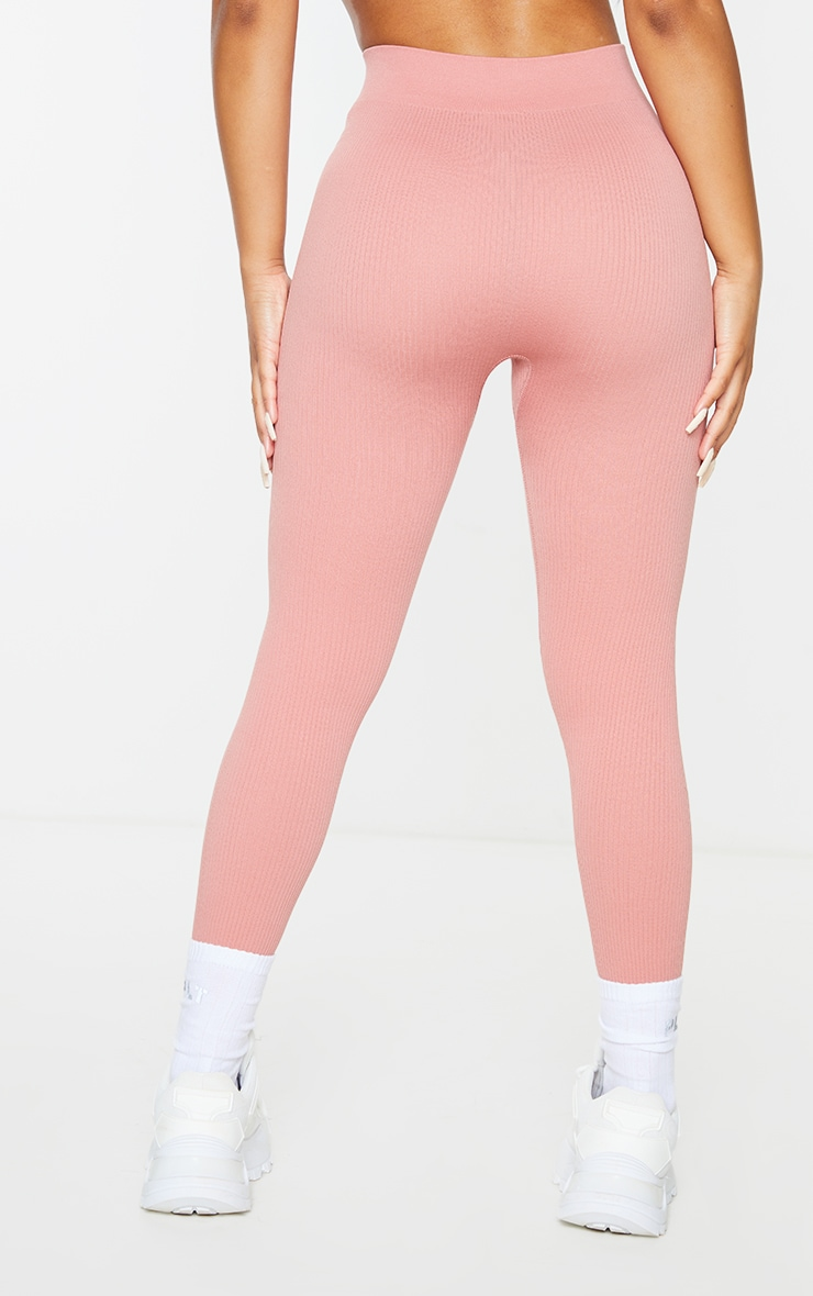 Petite Clay Structured Contour Ribbed Leggings 3