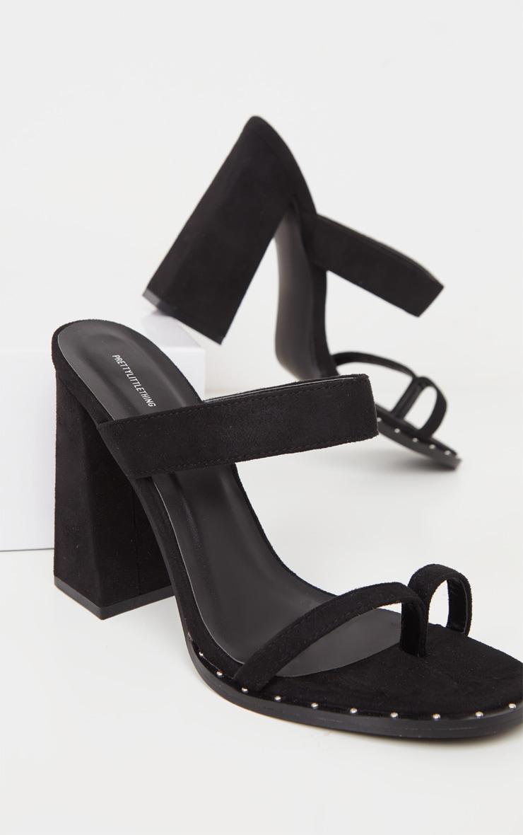 Black Toe Loop Mule Block Heel Stud Detail Sandal 4