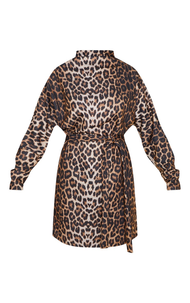 Leopard Oversized Funnel Neck Tie Waist Jumper Dress 3