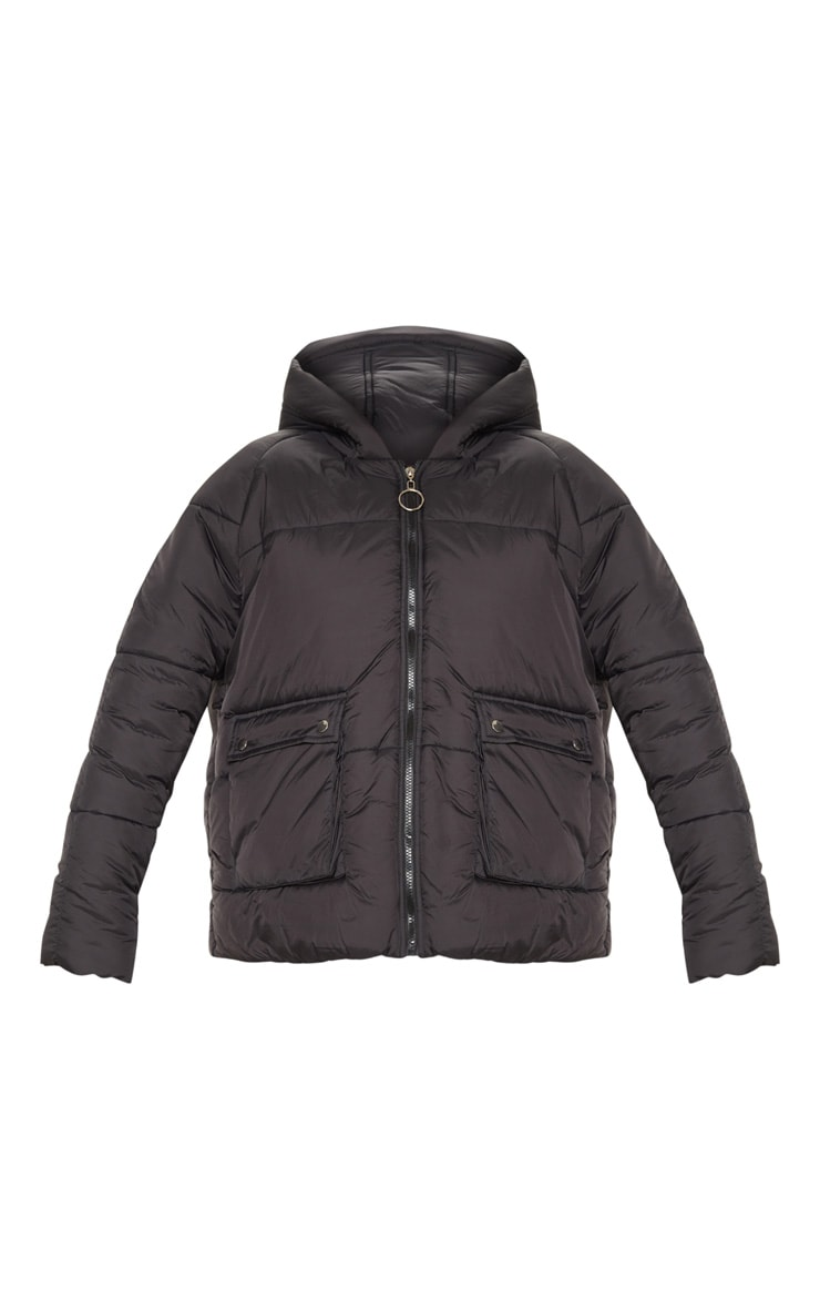 Black Pocket Front Hooded Puffer 3
