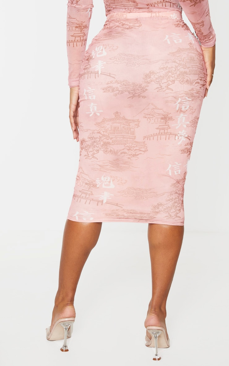 Shape Rose Oriental Printed Mesh Midi Skirt 4