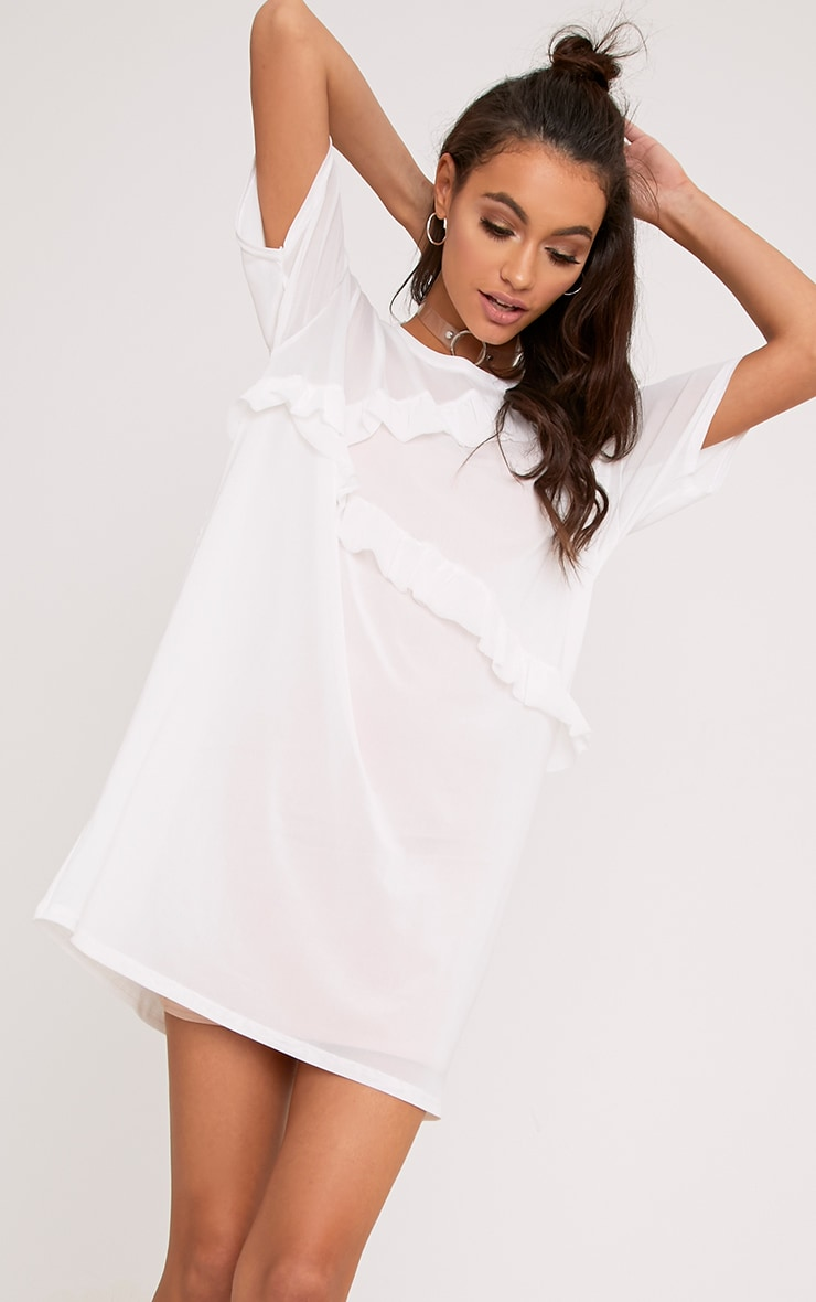 Hannie White Ruffle Mesh T Shirt Dress 1