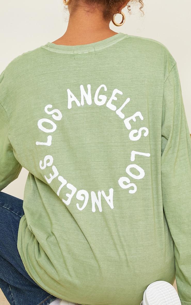 Sage Green LA Oversized Long Sleeve T Shirt 4