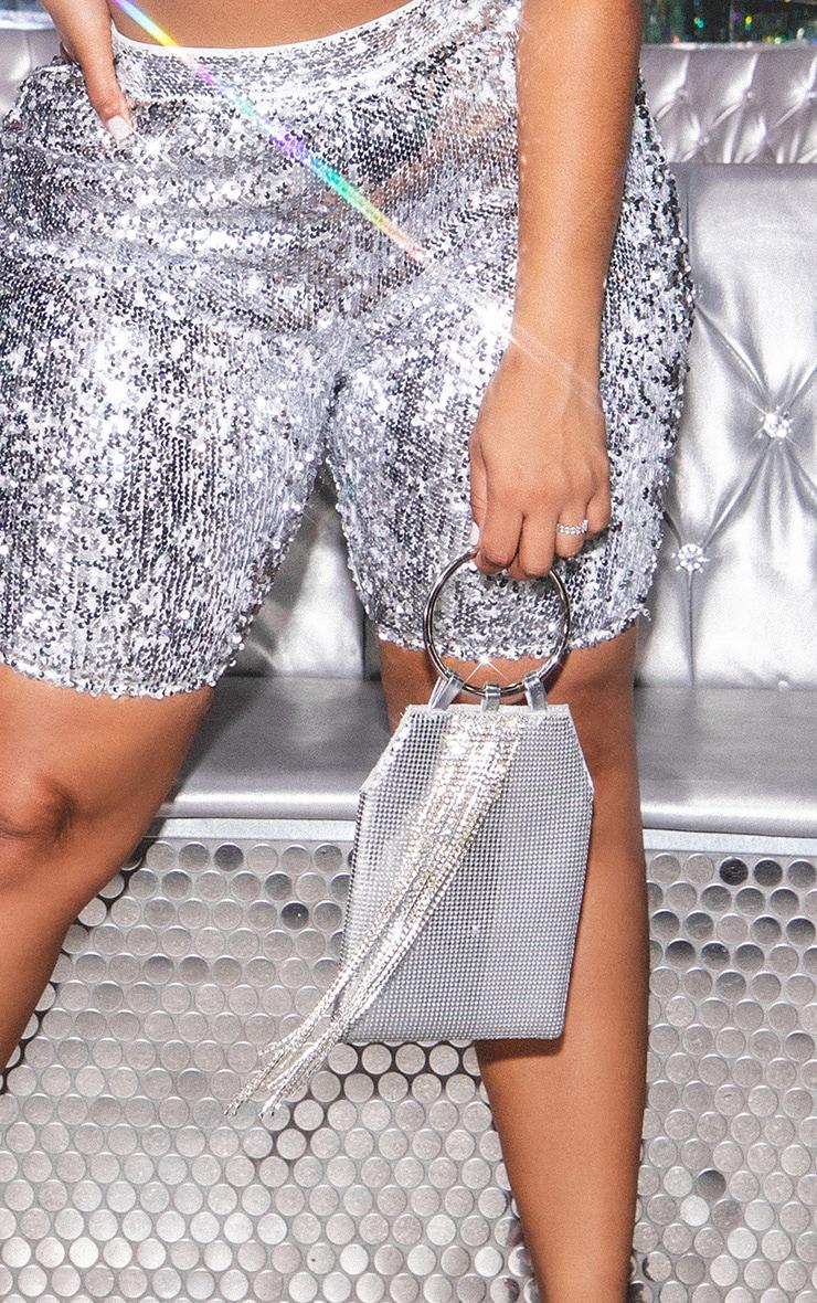 Silver Chain Tassel Mini Pouch Grab Bag