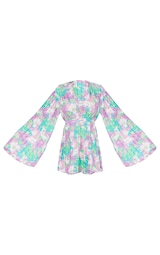 Lilac Abstract Floral Plunge Pleated Romper 5