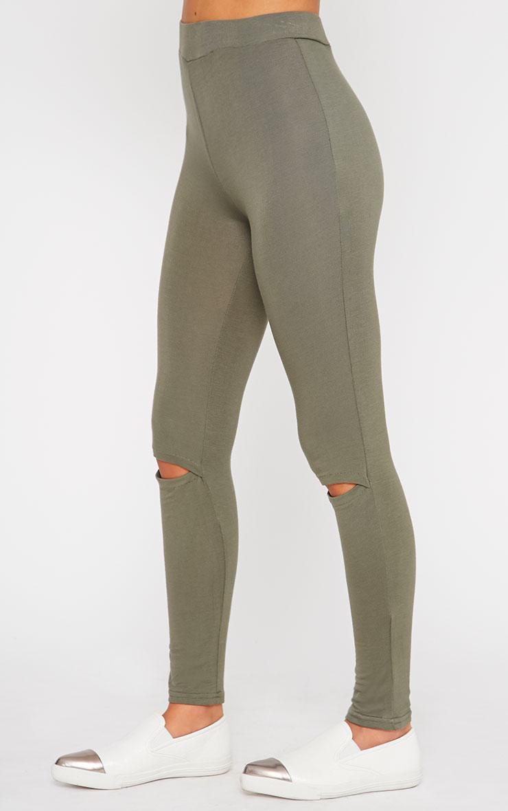 Basic Khaki Ripped Knee Leggings 3