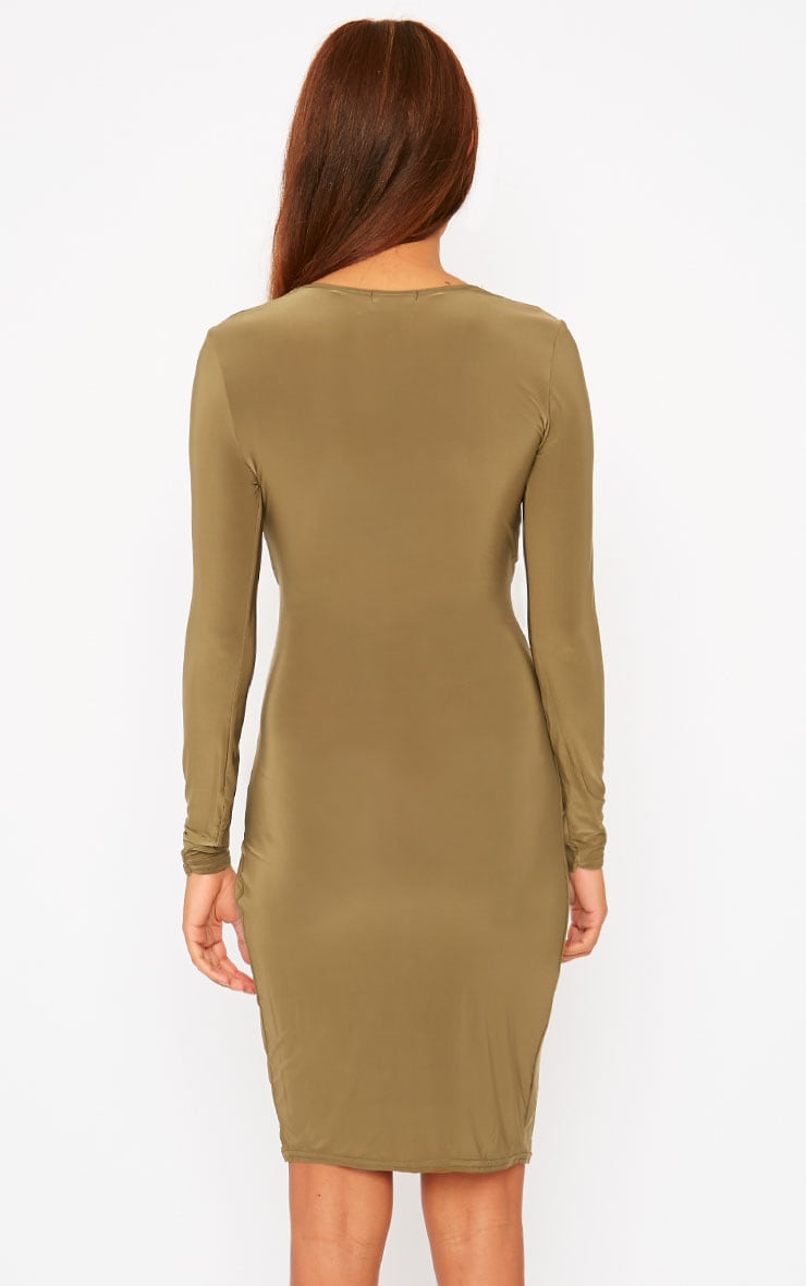 Iona Khaki Slinky Wrap Over Gathered Mini Dress 3