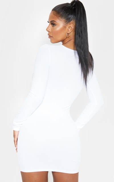 White Long Sleeve Bust Cut Out Hook And Eye Bodycon Dress