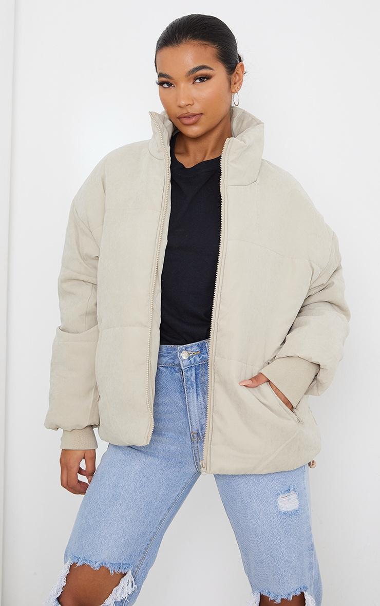 Stone Oversized Peach Skin Cuff Puffer Jacket 1