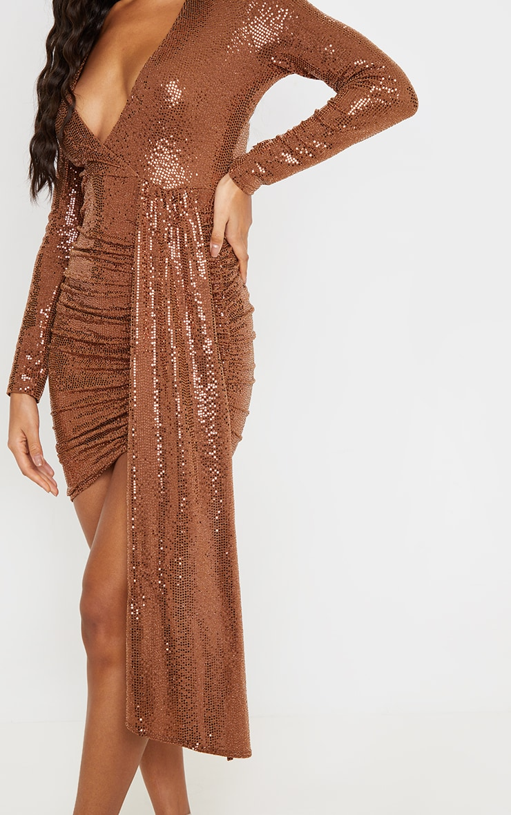 Bronze Sequin Plunge Bodycon Dress 5