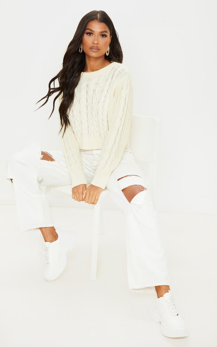 Cream Cable Knit Cropped Jumper 4