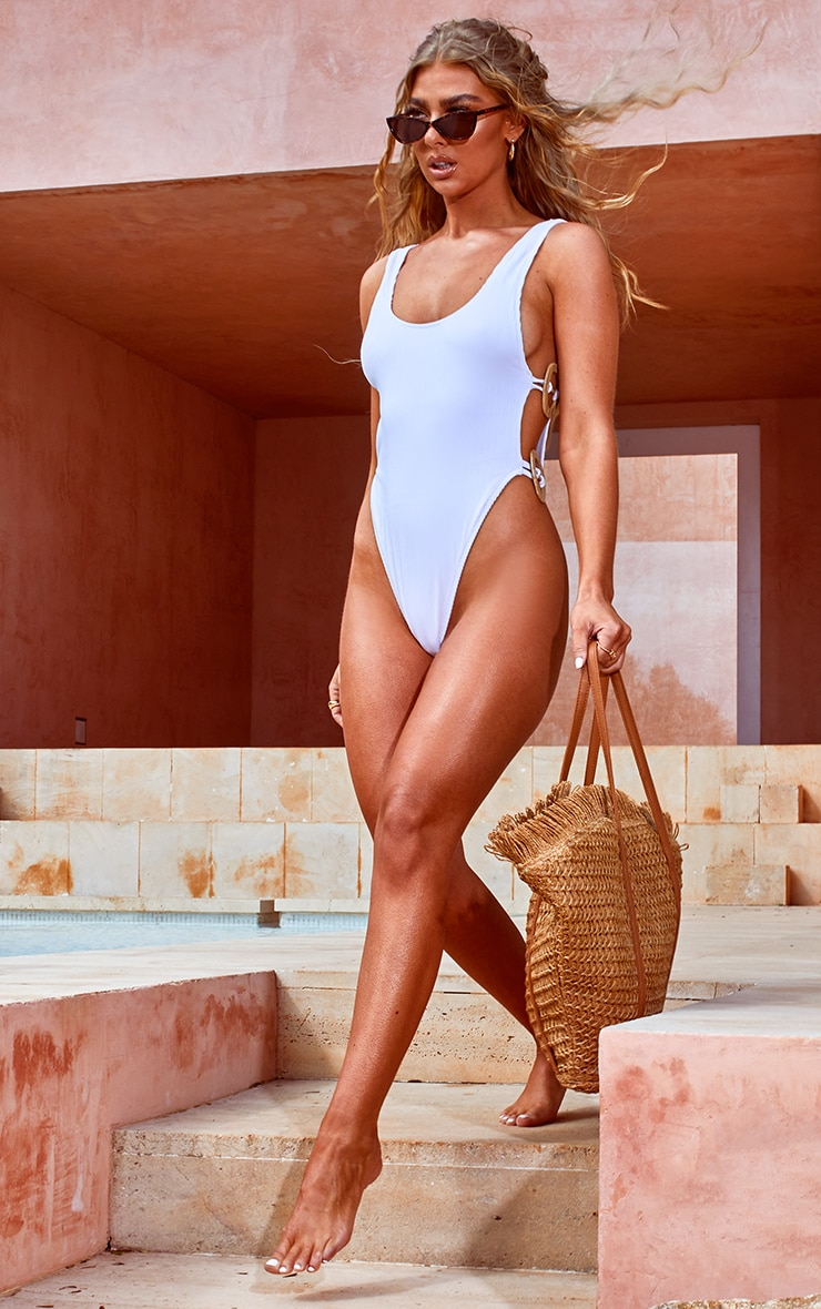 White Wooden Trim Low Back Swimsuit 3