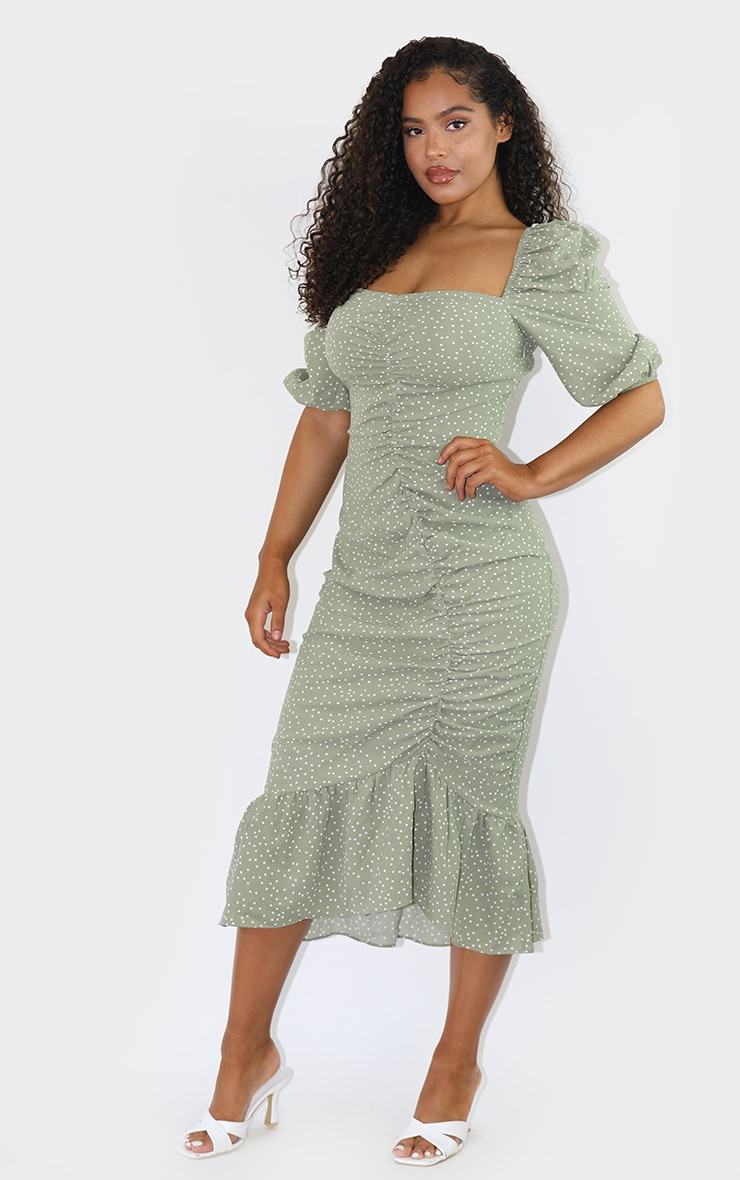 Sage Green Polka Dot Ruched Front Frill Hem Midi Dress 1