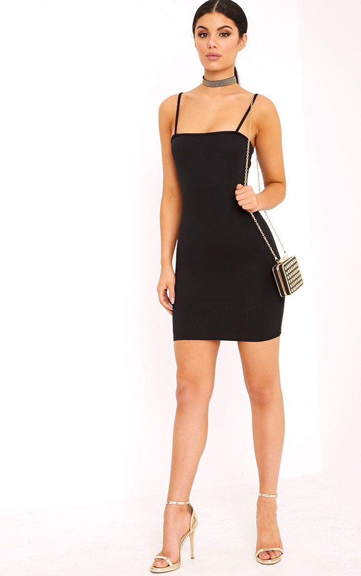 Desri Black Straight Neck Bodycon Dress 4