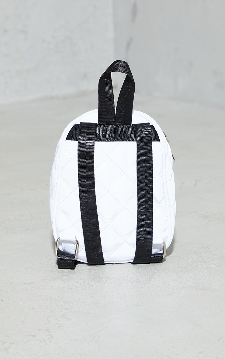 PRETTYLITTLETHING White Quilted Badge Mini Backpack 4
