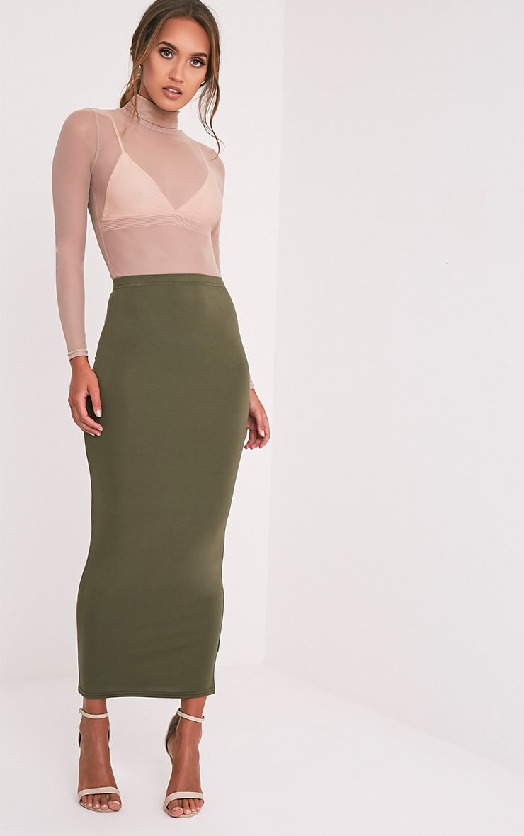 Basic Khaki Midaxi Skirt 1