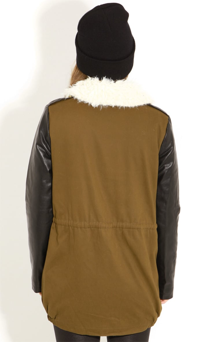 Roxy Khaki Faux Leather and Shearling Parka Coat 2