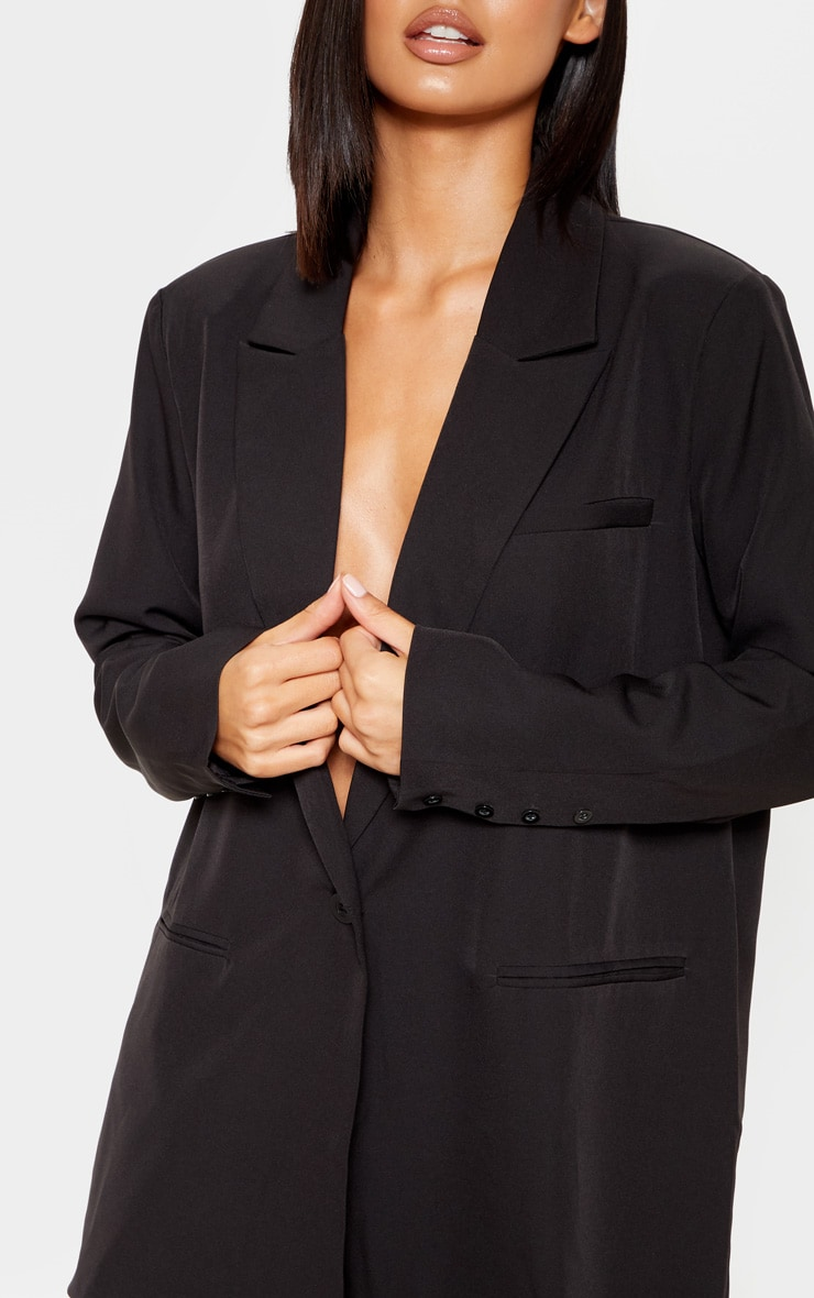Black Oversized Dad Woven Blazer    5