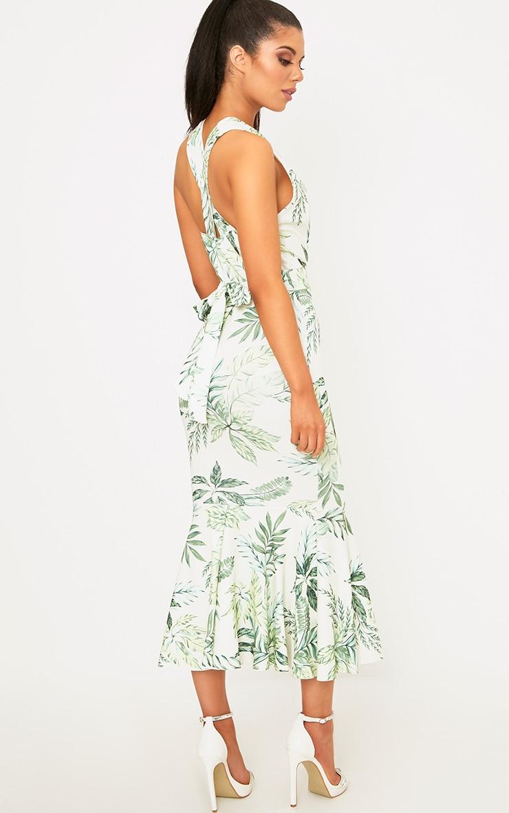 Green Palm Print Plunge Fishtail Midi Dress 2