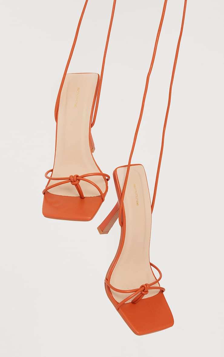 Orange PU Square Knot Detail Toe Thong Lace Up High Heeled Sandals 3