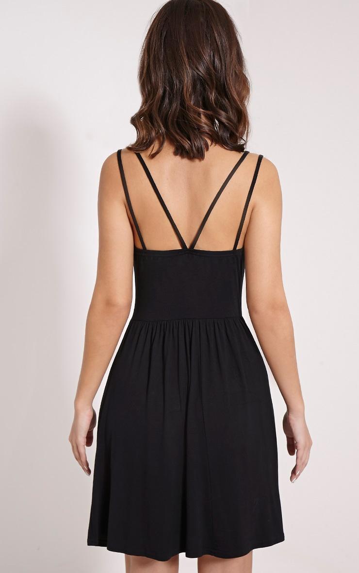 Basic robe patineuse noire à bretelles croisées dans le dos 2