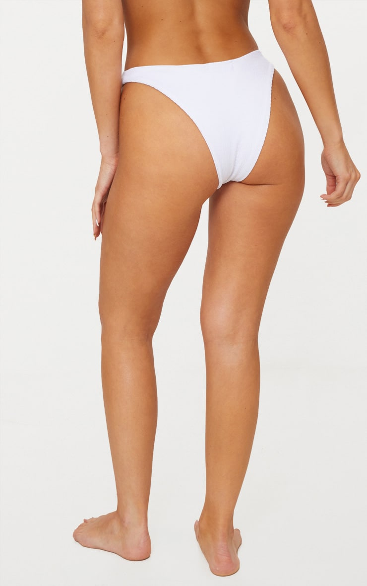 White Crinkle V Front Bikini Bottom 3