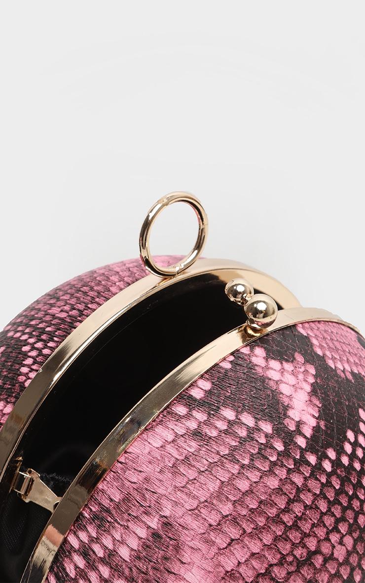 Pink Snake Sphere Mini Clutch Bag 6