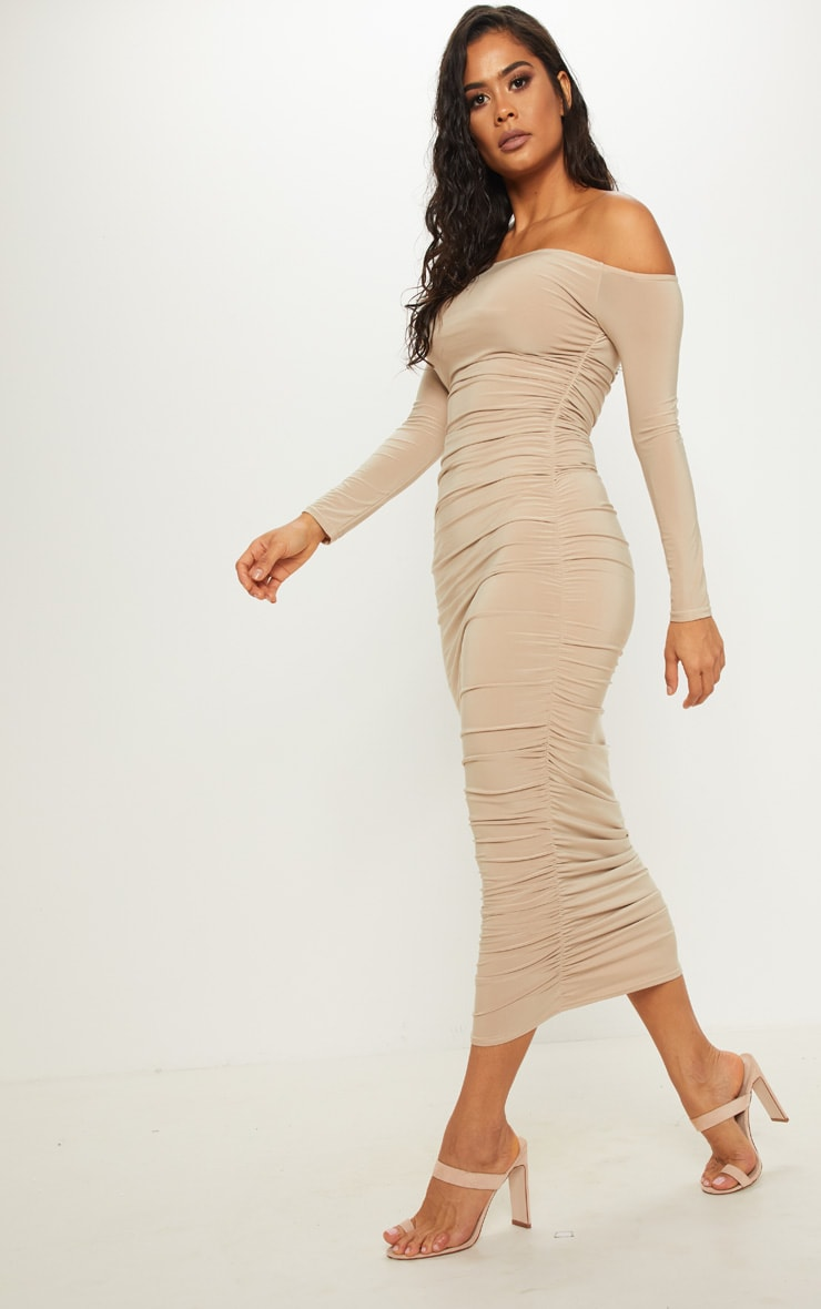 Stone Bardot Slinky Ruched Midaxi Dress 3