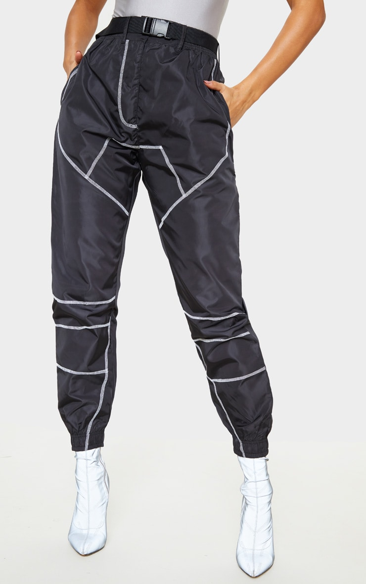 Black Contrast Stitch Belted Shell Jogger 2