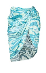 Plus Blue Abstract Print Ruched Side Midi Skirt 5