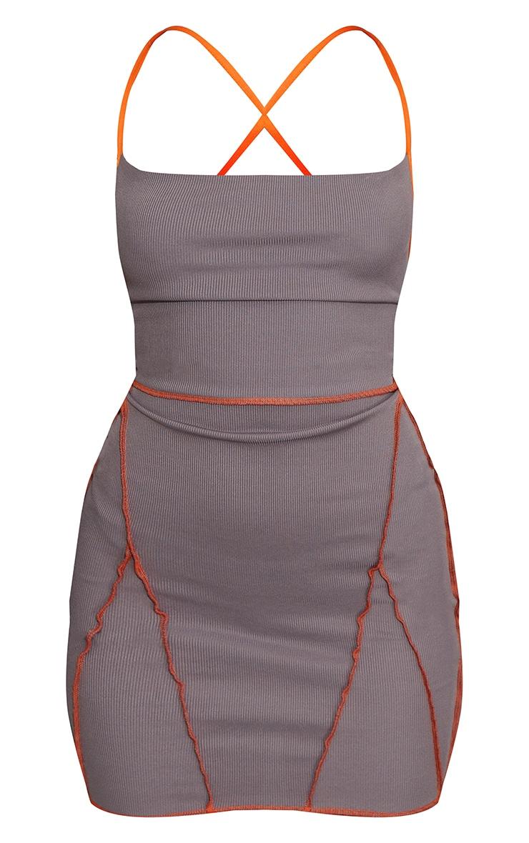 Charcoal Overlock Stitch Lace Up Back Bodycon Dress 5