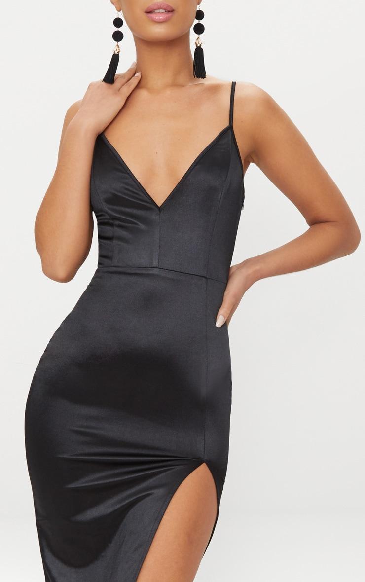 Black Satin Extreme Split Plunge Midi Dress 5