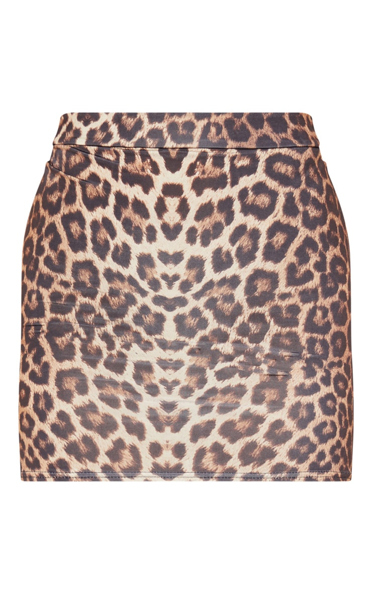Leopard Slinky Ruched Seam Detail Mini Skirt 3
