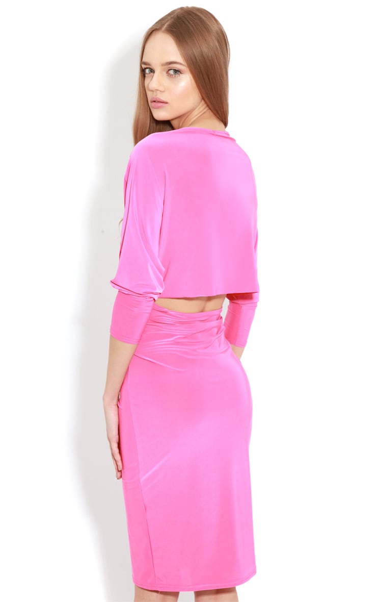 Edan Fuschia Long Sleeve Bodycon Midi Dress  5