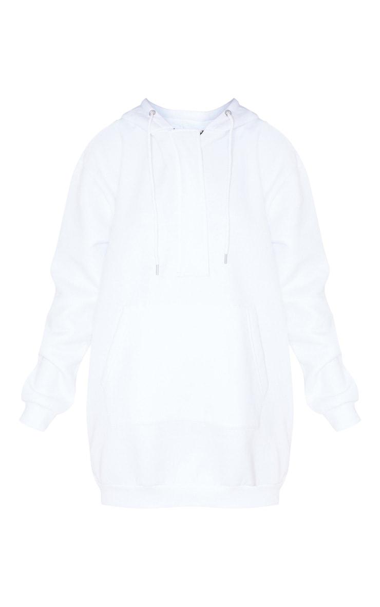 White Oversized Pocket Front Hoodie Jumper Dress 3