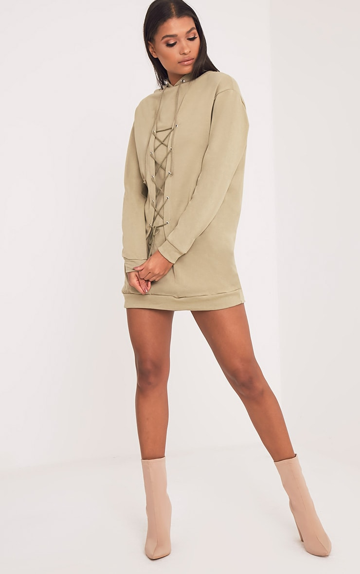Bexie robe sweat à capuche à lacets kaki 5