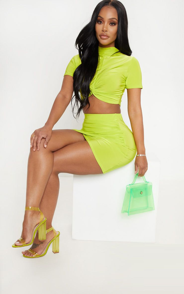 Shape Neon Lime Ruched Side Slit Bodycon Skirt 1