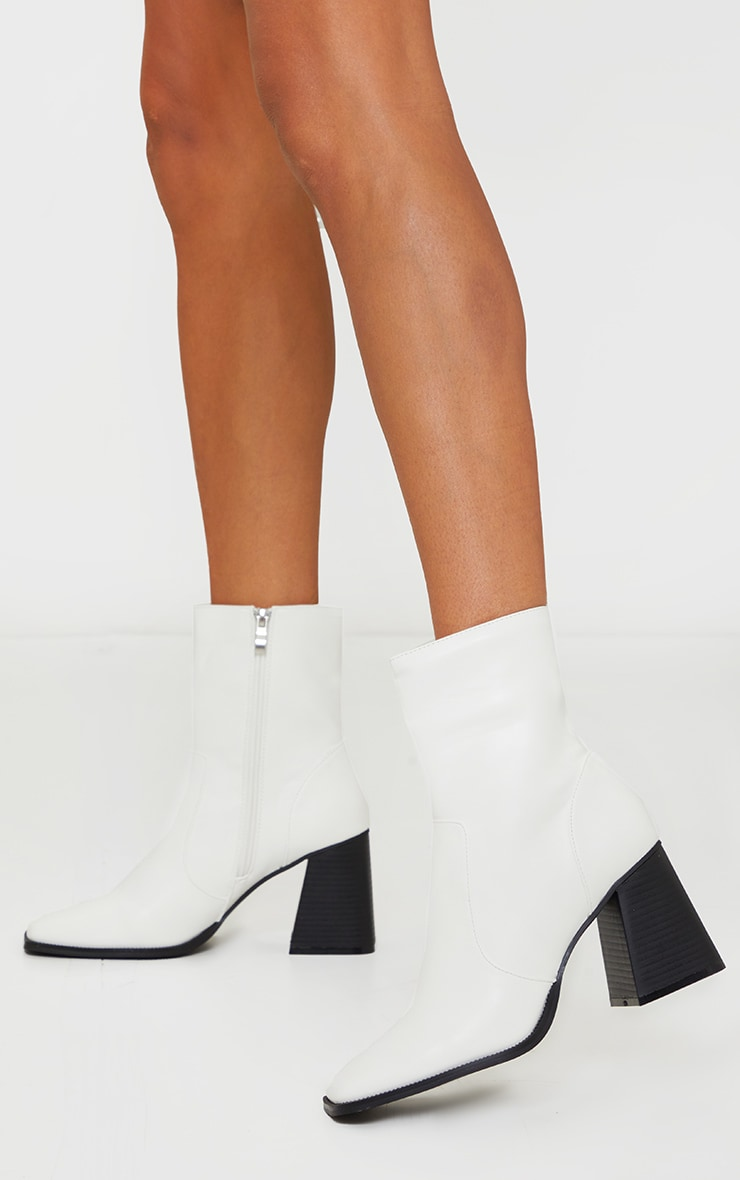 White Square Toe Flare Block Heel Ankle Boot 2