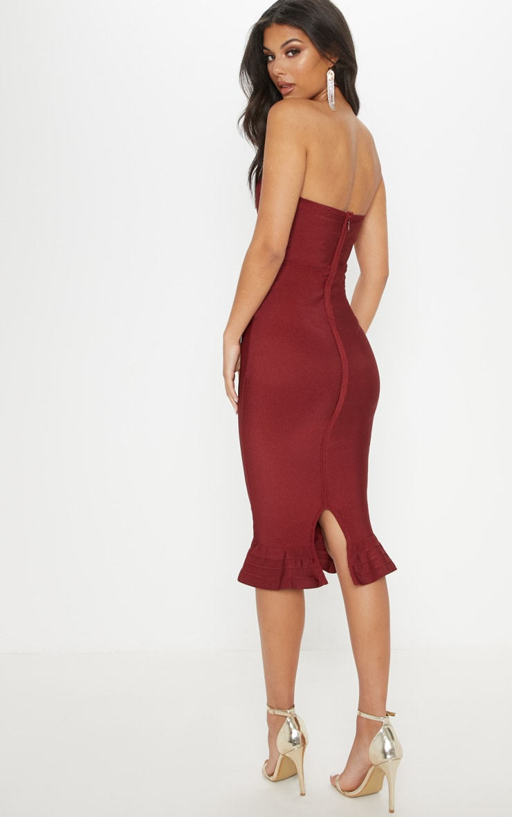 Dark Red Frill Hem Bandage Midi Dress 2