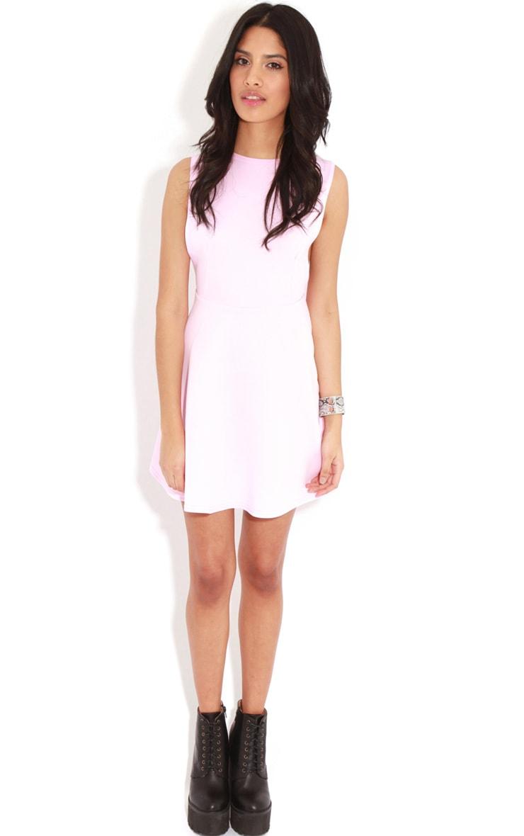 Arianna Pink Scuba Side Slit Skater Dress 3