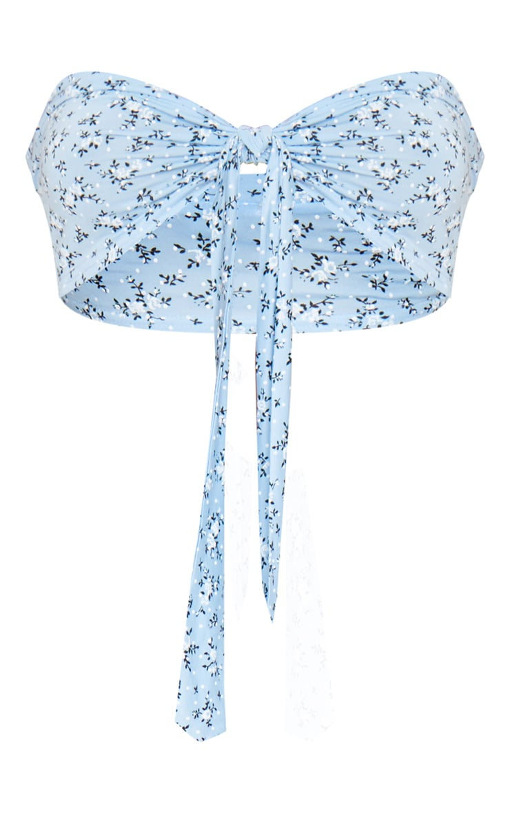 Blue Floral Printed Tie Front Bandeau Top 5