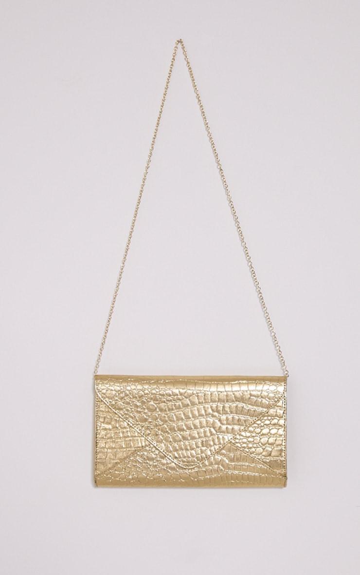 Janie Gold Metallic Croc Clutch Bag 4
