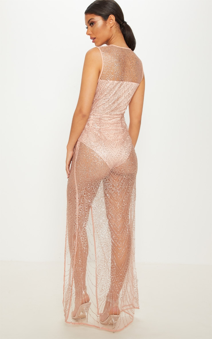 Rose Gold Glitter Sheer Extreme Split Maxi Dress 2