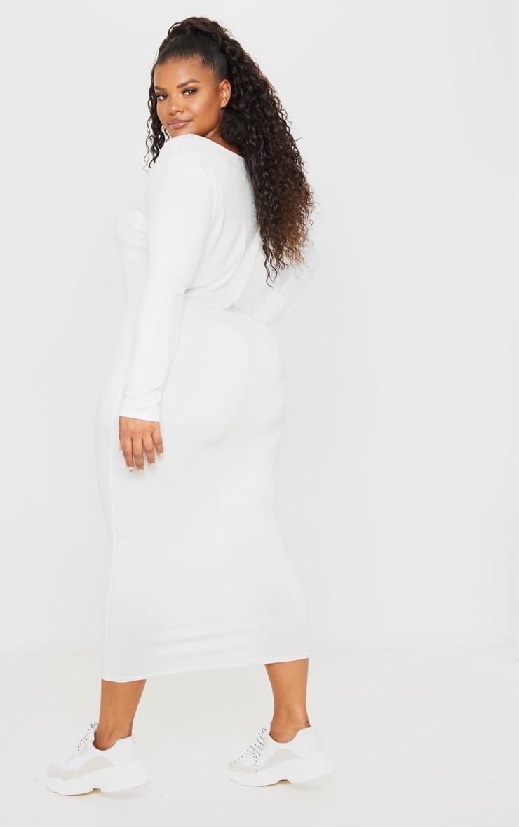 Plus Cream Jersey V Neck Long Sleeved Midi Dress 2
