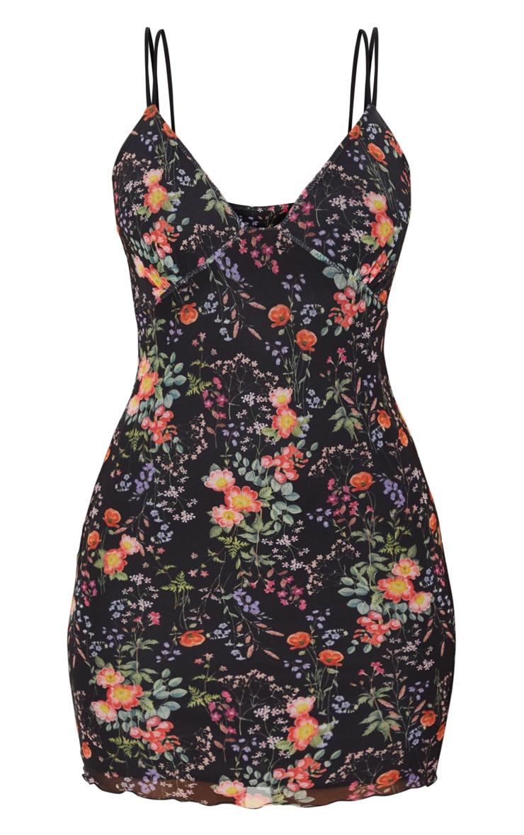 Robe moulante noire en mesh imprimé floral à armatures 5