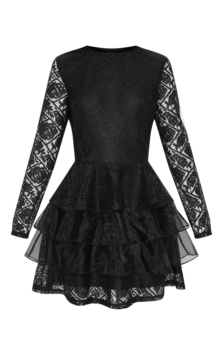 Black Lace Long Sleeve Tiered Skater Dress 3
